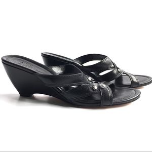 Cole Haan Cone Wedge Black Sandal Size 8.5 M